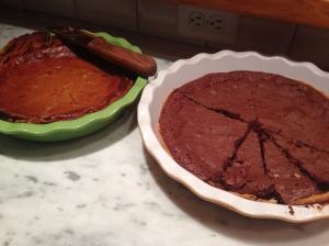 eggnog pie and kahlua chocolate pie