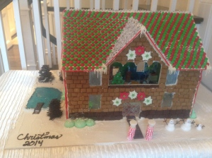 my cousin is a pastry chef/chocolate maker and makes an epic gingerbread house every year!