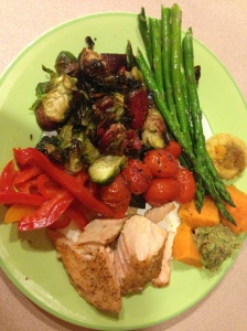 christmas dinner- salmon, sweet potato with guacamole, red peppers, brussels sprouts, beets and asparagus