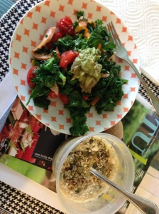 sautéed kale, eggs, red peppers, tomatoes with guacamole plus blueberries with pumpkin/almond milk, coconut flour and granola