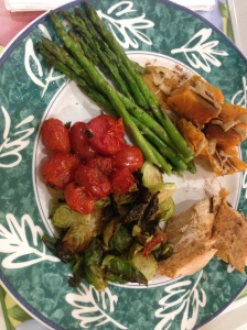salmon, tomatoes, brussels sprouts, asparagus, and sweet potato