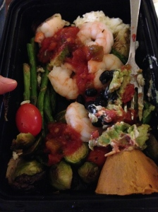 eggs, shrimp, tomatoes, asparagus and sweet  potato (to go style)