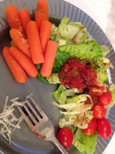 salad with tomatoes, salsa, and carrots and hummus