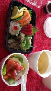 sashimi, miso soup and salad!
