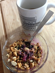 warmed berries, with granola and coconut flour, plus coffee