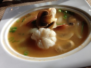 yummy shrimp soup at a thai place, plus unpictured green papaya salad