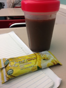 quest bar and protein iced coffee