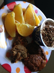 yogurt with pb2, and granola, 1/2 panera pumpkin pie bagel, cinnamon banana protein cookies and oranges
