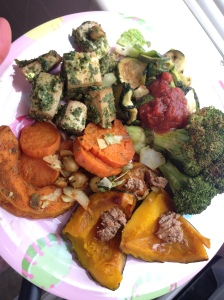 pesto tofu, veggies, sweet potato wedges, and kabocha with almond butter