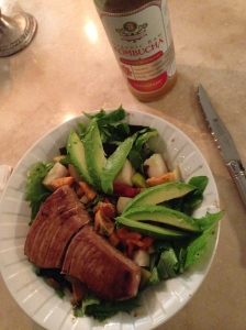 kombucha, salad with sweet potato, pear, avocado, and ahi tuna