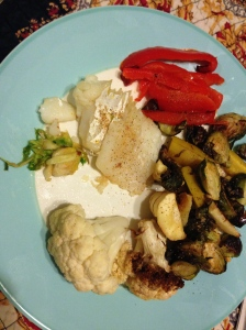 red peppers, cauliflower, parsnips, brussel sprouts, and halibut
