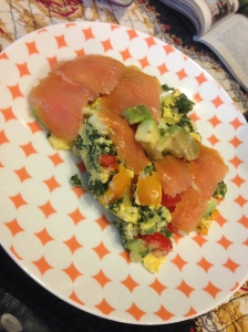 eggs, spinach, peppers, and smoked salmon