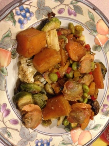 butternut squash, edamame, cauliflower, brussel sprouts, and parsnips plus clams