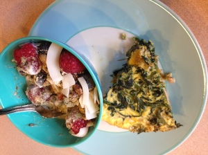 frittata and berry bowl with toppings