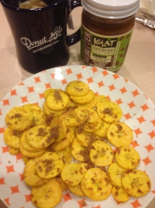 tea, pan fried plantains and kolat nut butter