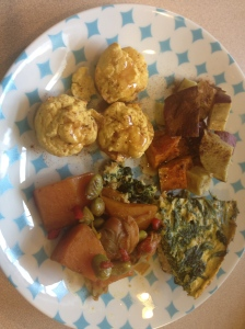 frittata, butternut squash, sweet potatoes, and coconut muffins with cinnamon butter