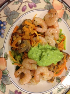 zoodles, sweet potato noodles, mushrooms, shrimp, and avocado/basil spread