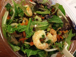 sweet green salad with shrimp, butternut squash, sunflower seeds, cucumber, etc plus some trail mix