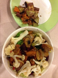 salad with butternut squash, clams, cauliflower and sweet potatoes with cinnamon earth balance
