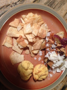 pita chips, sweet potato with peanut butter and coconut muffins