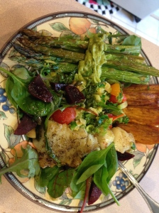salad  with asparagus, sweet potato, baked cod, beets, brussels sprouts and chimmichurri and avocado