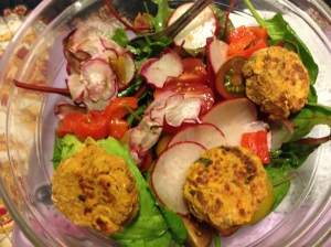 kale salad with radishes/tomatoes marinated in olive oil&rice vinegar, red peppers, sweet potato and salmon patties