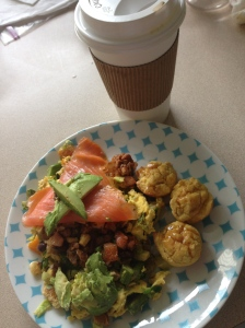eggs, veggies, smoked salmon, avocado and coconut muffins, plus coffee