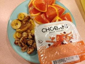 plantains, oranges, chobani flip cup