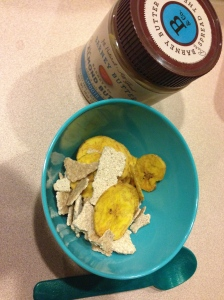 plantains/cinnamon crisps and almond butter