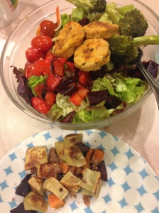 sweet potatoes and coconut butter, salad with peppers, salmon patties, broccoli, tomatoes and beets