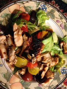 butter lettuce, tomatoes, peppers, teriyaki salmon and avocado