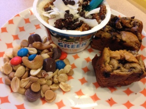 trail mix, salted caramel greek yogurt with granola and coconut, and zucchini bread with almond butter