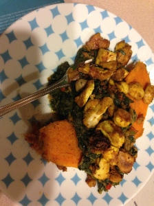 sweet potato, quinoa/brown rice, spinach, chana masala and spiced tofu