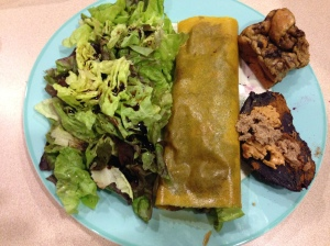 turmeric wrap with spinach and smoked salmon, butter lettuce salad, and purple sweet potato with almond butter and coconut butter, and zucchini bread