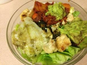 butter lettuce, pesto cod, falafel, guacamole, leftover veggie tagine
