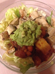 salad with leftover veggie tagine, beyond chicken, and huac