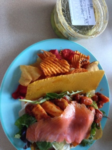 turmeric wrap with veggies and smoked salmon, with sweet potatoes and guar