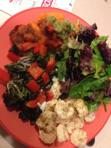 salad, sweet potato, veggie tagine, kale sprouts, coconut shrimp and guac