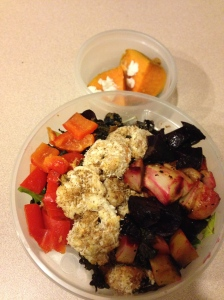 salad to go- lettuce, kale sprouts, red peppers, coconut shrimp, roast beets/parsnips and sweet potato with coconut butter