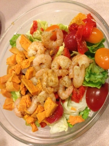 salad, tomatoes, peppers, shrimp and sweet potatoes