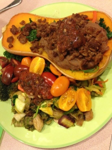 stuffed butternut squash with zoodles, kale, tomatoes, brussel sprouts, refried beans, morning star beef? less protein, and salsa