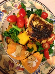 kale, carrot noodles, tomatoes, squash, salmon and sweet potato