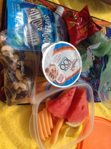 breakfast by the pool- greek yogurt, granola, trail mix, pretzels and nut butter, and fresh fruit