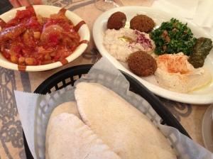m'saka, falafel, grape leaf, hummus, baba gannouche, tabbouleh, and pita! yum